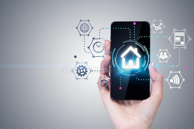 Woman hand with phone, smart home interface vector illustration