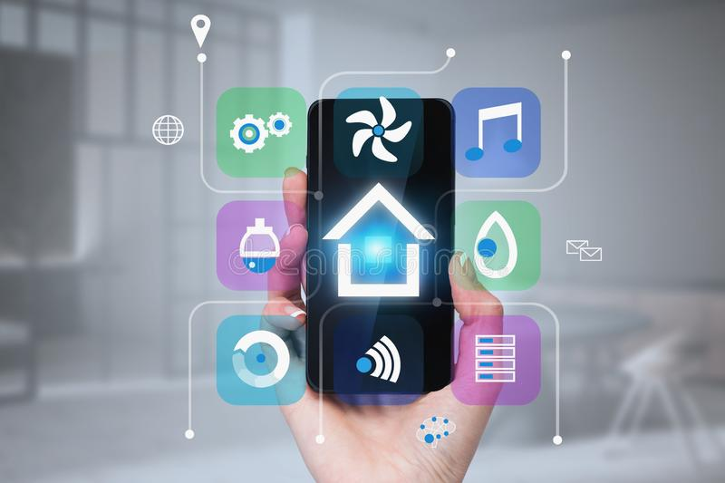 Woman hand with phone, smart home in room royalty free illustration
