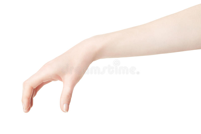 Woman hand picking up something. Isolated on white, clipping path included royalty free stock photography