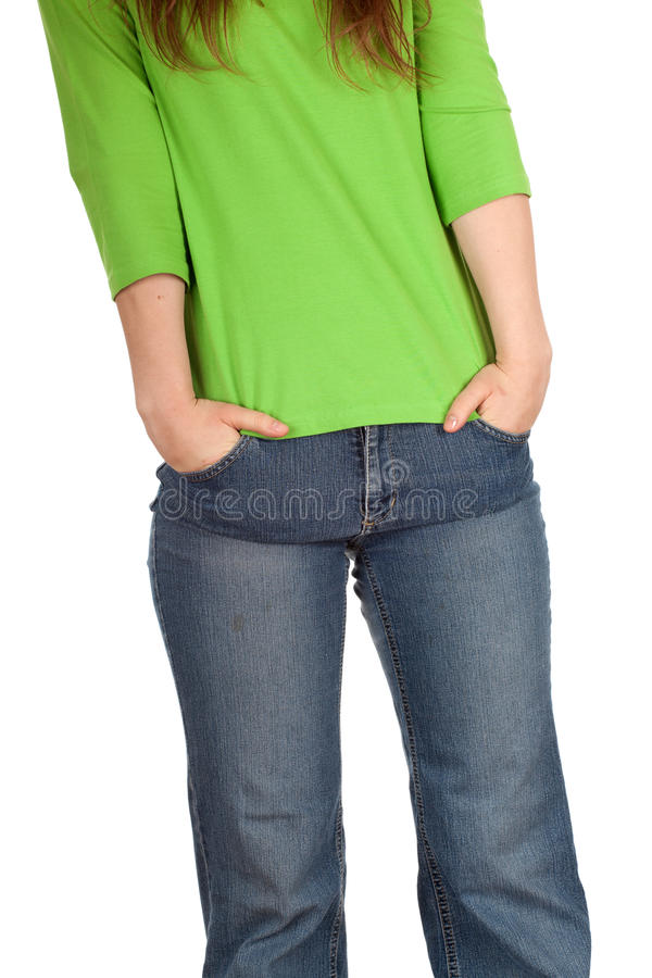 Woman with hand in pocket