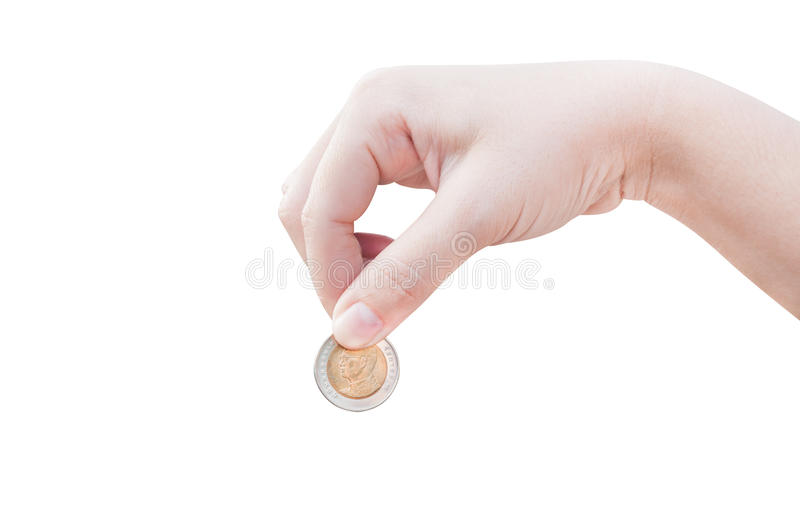Woman hand putting a coin isolated on white background. Donation Investment Fund Financial Support Charity Dividend Market Growth Home Giving Planned Accounting royalty free stock photography