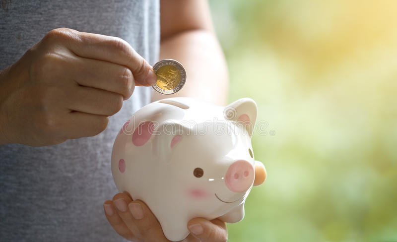 Woman hand putting coin into piggy bank on nature background royalty free stock image