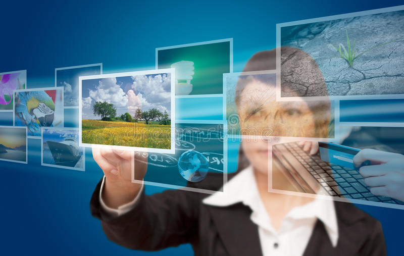 Woman hand reaching images streaming. From the deep royalty free stock images