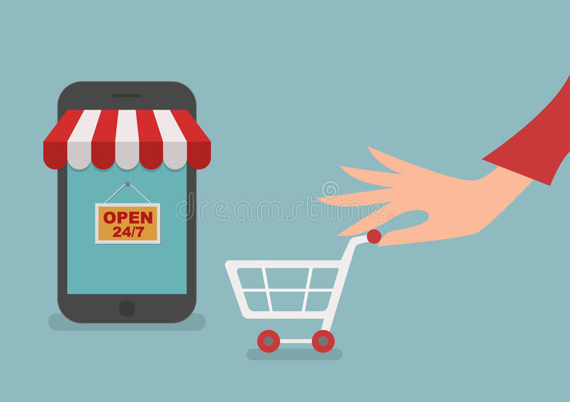 Woman hand shopping online store. E-shopping concept stock illustration