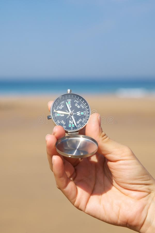 Download Woman Hand With Silver Compass Stock Photo - Image: 22417726