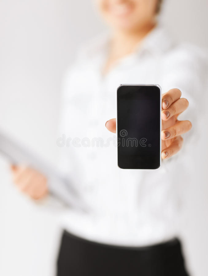 Download Woman hand with smartphone stock photo. Image of internet - 34108080