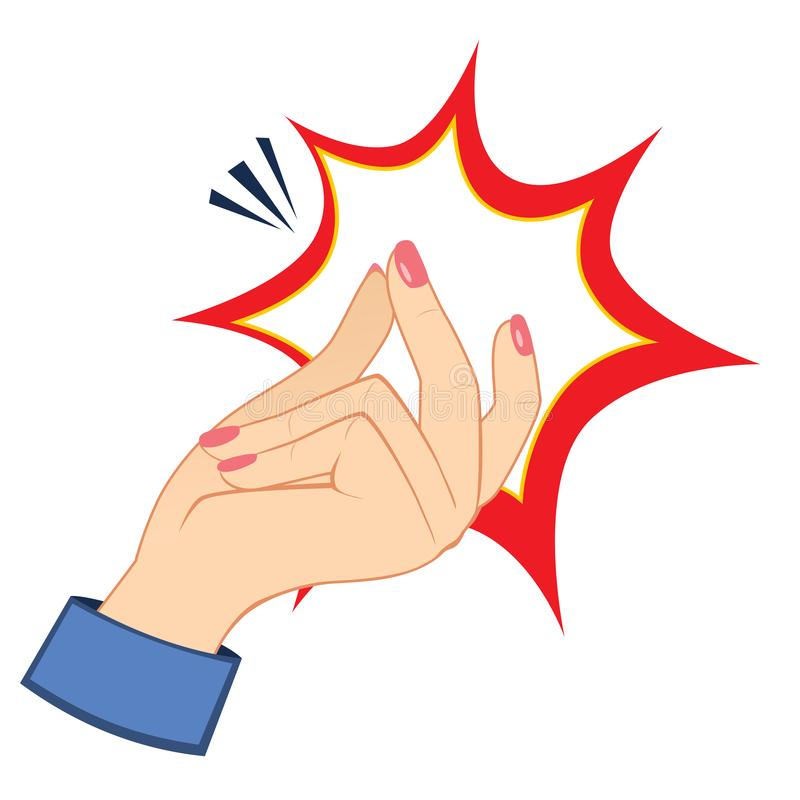 Woman Hand Snapping Fingers. Closeup action of woman hand snapping fingers gesture royalty free illustration