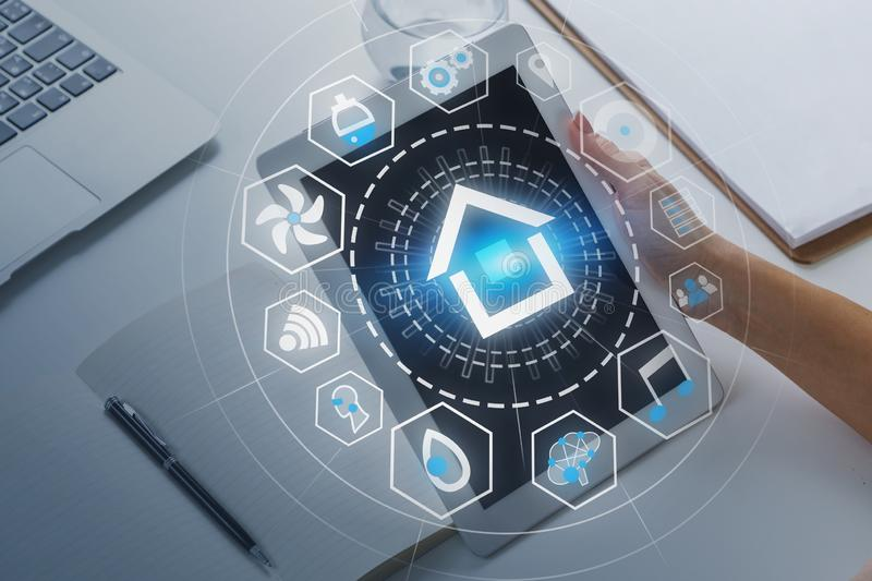Woman hand with tablet, smart home interface stock illustration