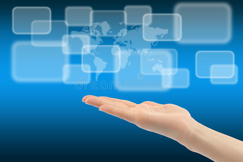 Download Woman Hand With Touch Screen Interface Stock Photo - Image: 23885544