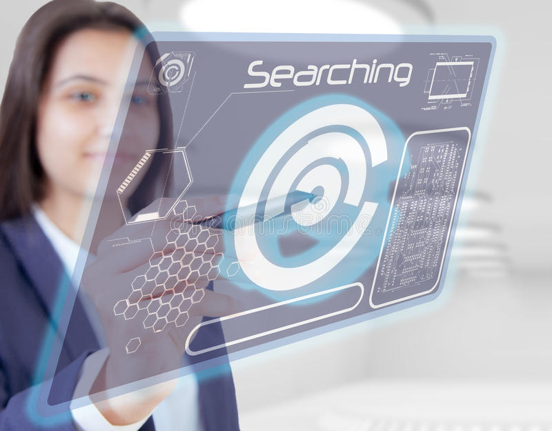 Woman hand touch searching stock photography