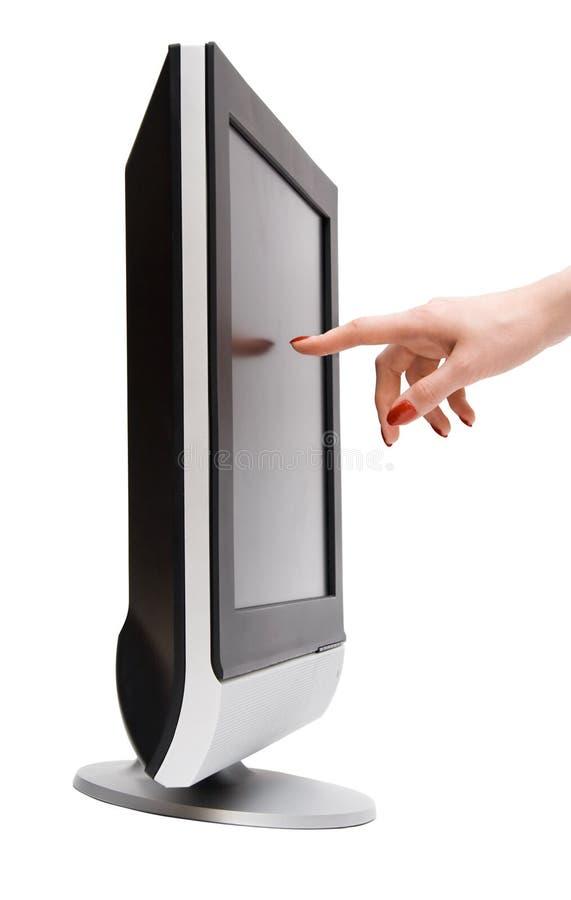 Free Woman Hand Touching Tv Screen Stock Image - 3461531
