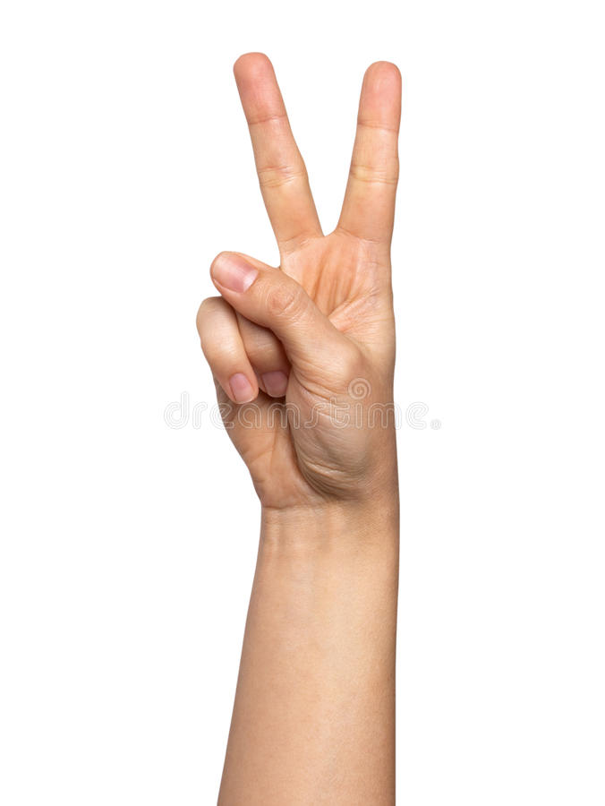 Woman hand with two fingers concept of victory isolated on white background.  stock image