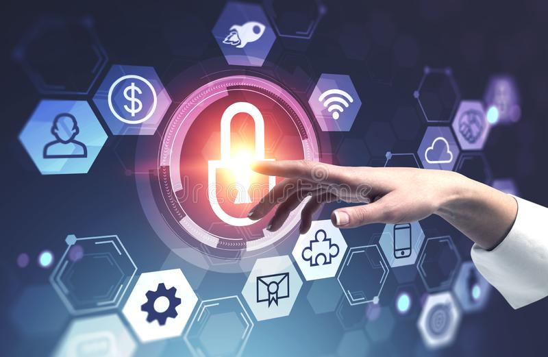 Woman hand using online security interface, hud stock illustration