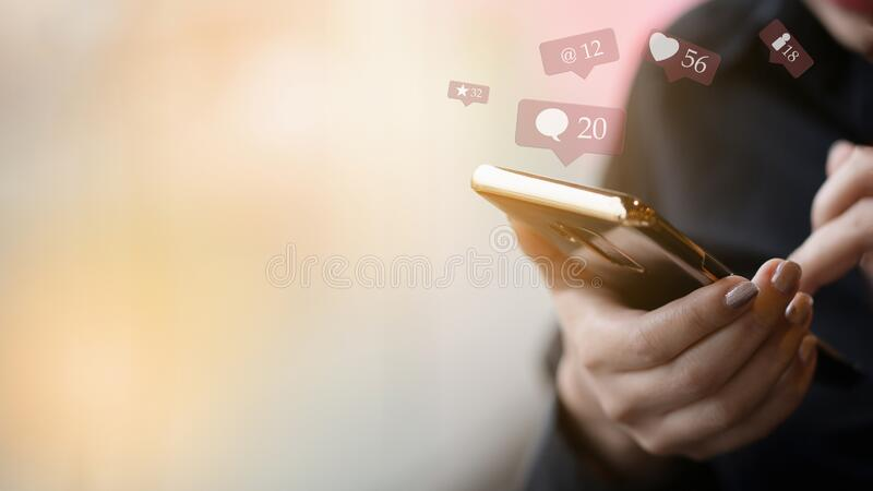 Woman hand using smart phone stock photos