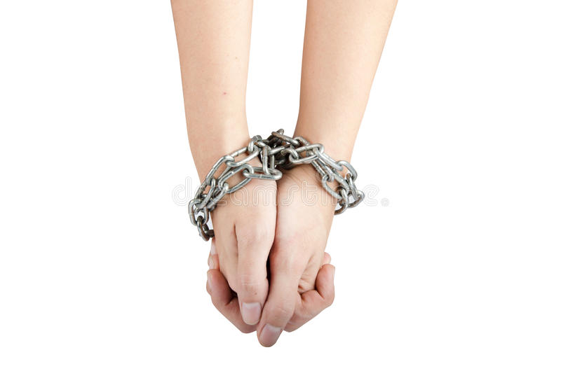 Woman hand was tied by chain isolate on white background stock images
