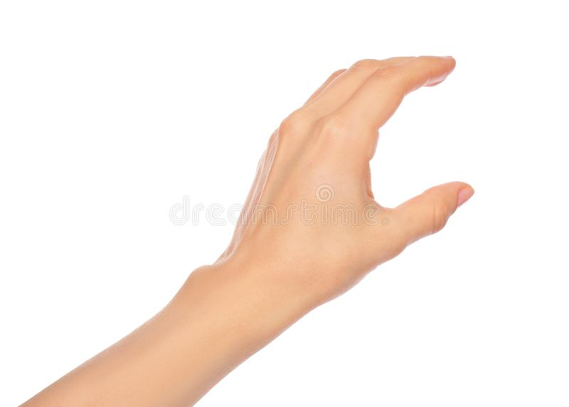 Woman hand on white background royalty free stock photos