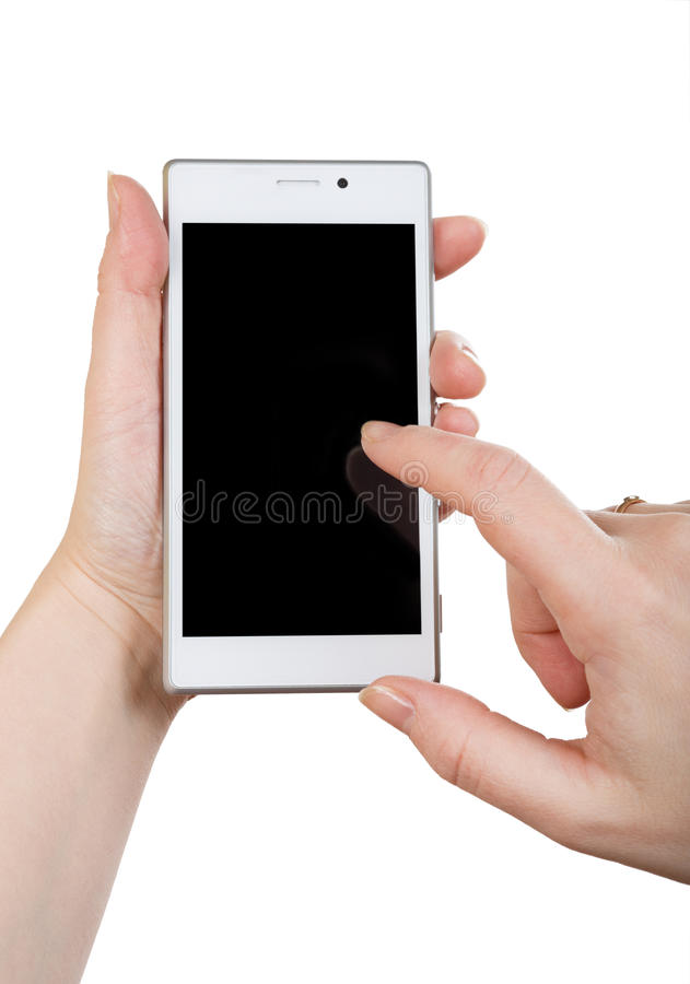 Woman hand with white smartphone stock photos