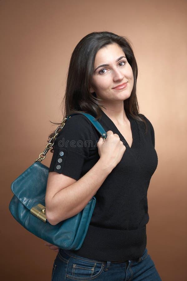Download Woman with handbag stock image. Image of happy, black - 17880215