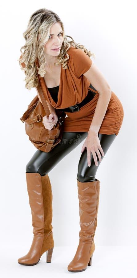 Download Woman with a handbag stock image. Image of interiors - 27009889