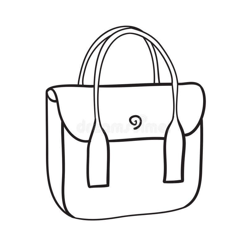 woman handbag hand drawn vector fashion illustration stock