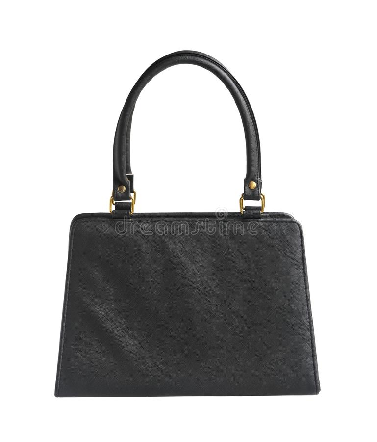 Woman handbag leather classic bag. With clipping path isolated on white background stock photos