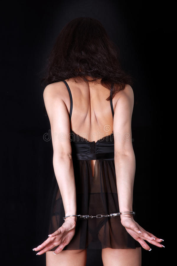 Woman with handcuff royalty free stock photos