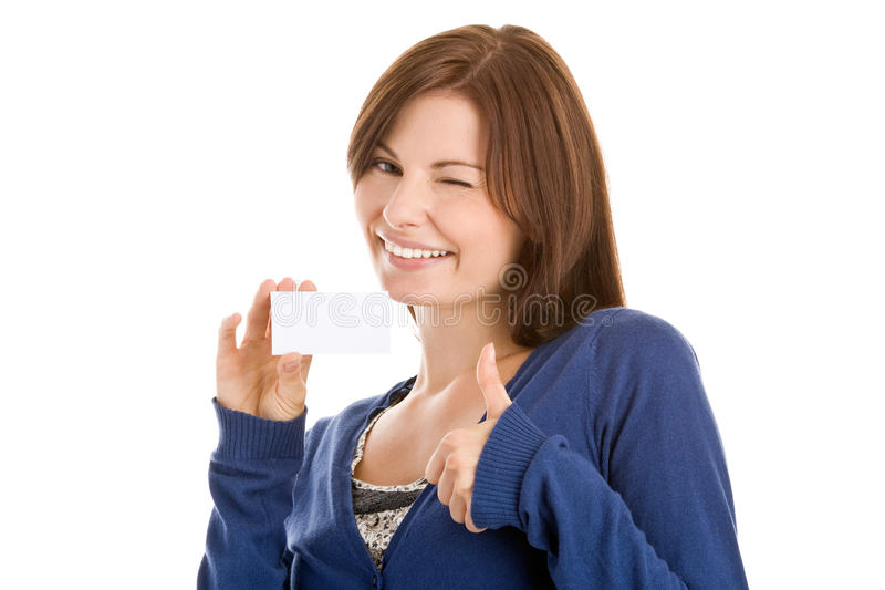 Woman handing blank business card stock photography