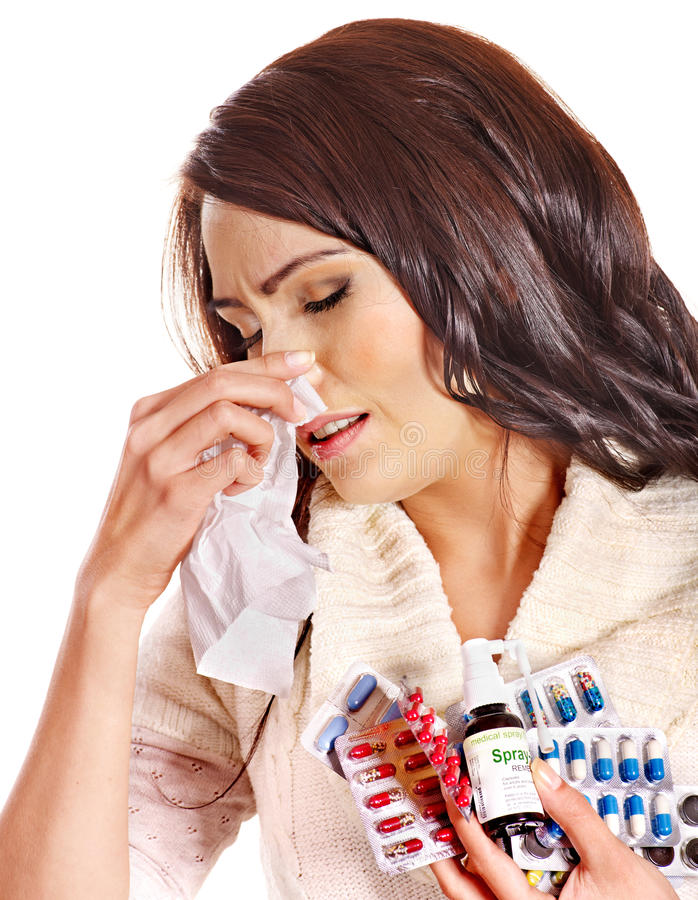Download Woman With Handkerchief Having  Tablets And Pills. Stock Image - Image: 27442259