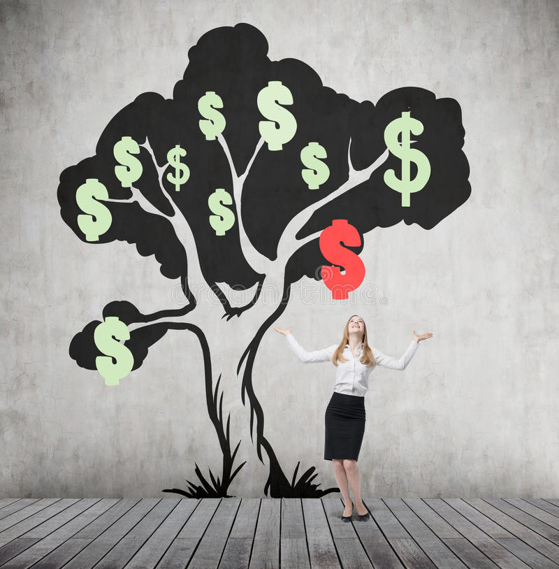 Download Woman With Hands In The Air And Dollar Tree With Falling Sign Stock Image - Image of market, floor: 78885139