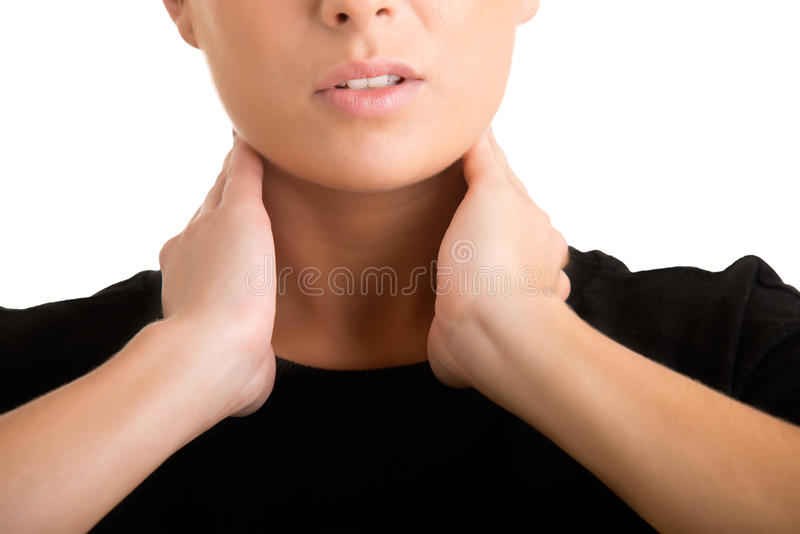 Woman With Hands Around Her Neck royalty free stock photo