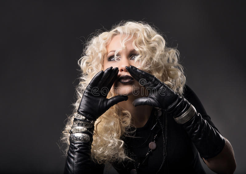 Download Woman Hands Around Mouth, Loud Talking Speaking, Blonde Curly Ha Royalty Free Stock Photo - Image: 38186705