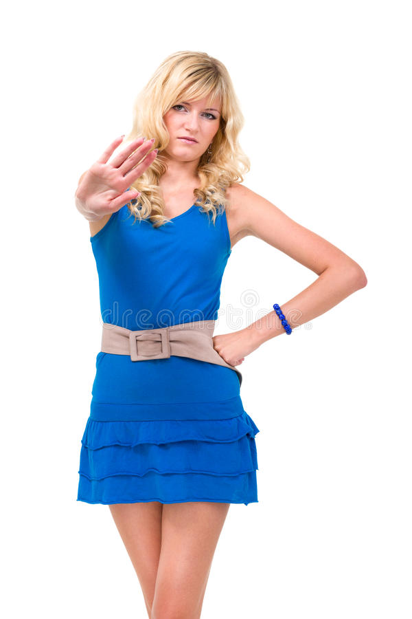 Woman With Hands As Sign To Stop Royalty Free Stock Photography