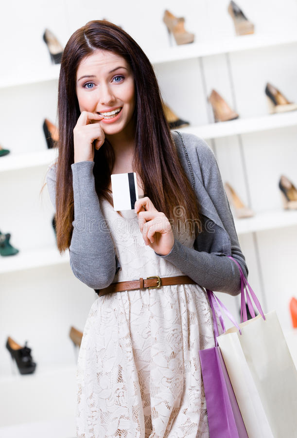 Download Woman Hands Credit Card In Footwear Shop Stock Image - Image: 37637295