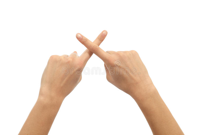 Download Woman Hands Crossing Fingers Stock Image - Image: 28228113