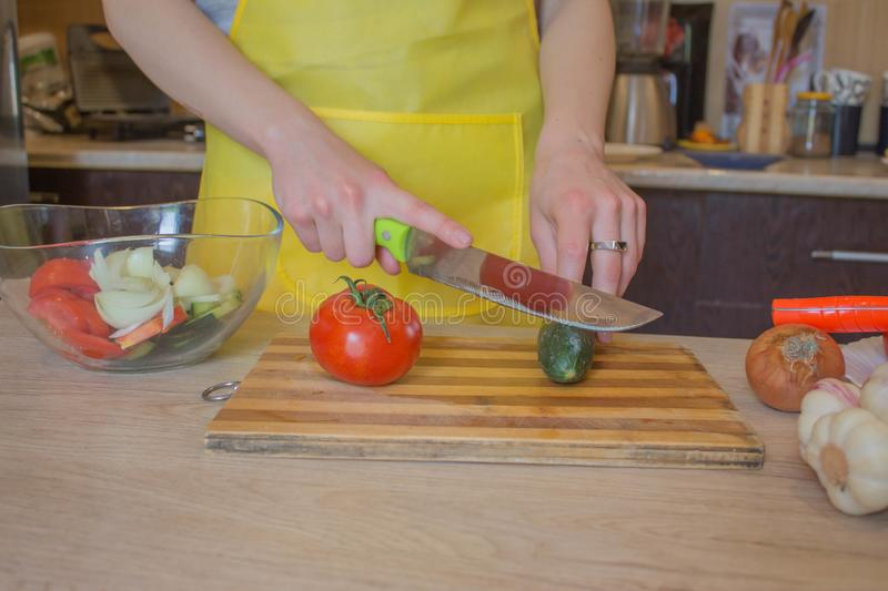 Woman hands cutting vegetables in the kitchen. Preparing dishes. Woman in kitchen preparing vegetables royalty free stock image