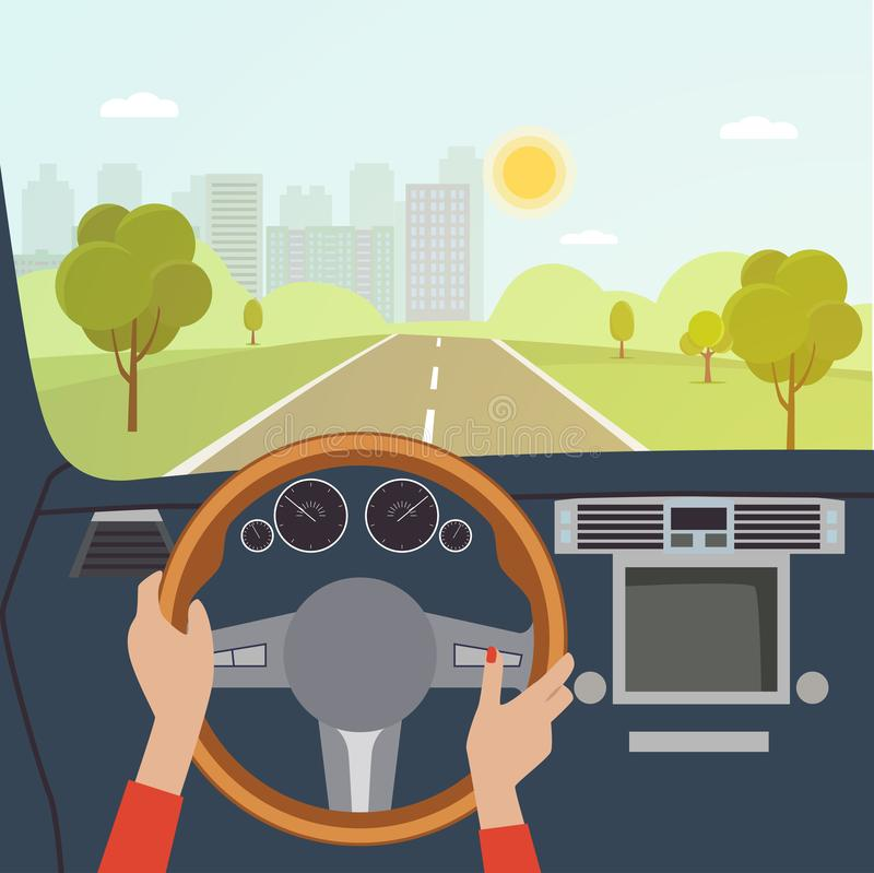 Woman hands of a driver on steering wheel of a car. Vector flat illustration stock illustration