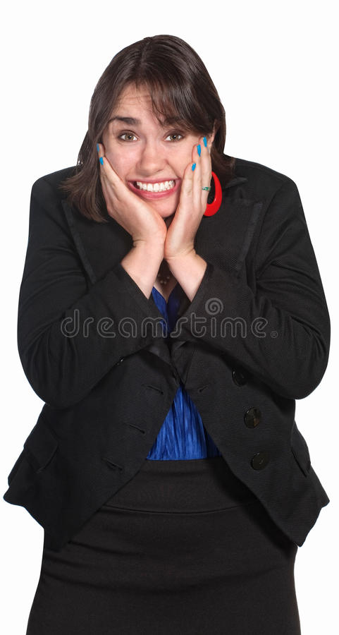 Woman With Hands on Face. Blushng professional woman with hands on face stock photography