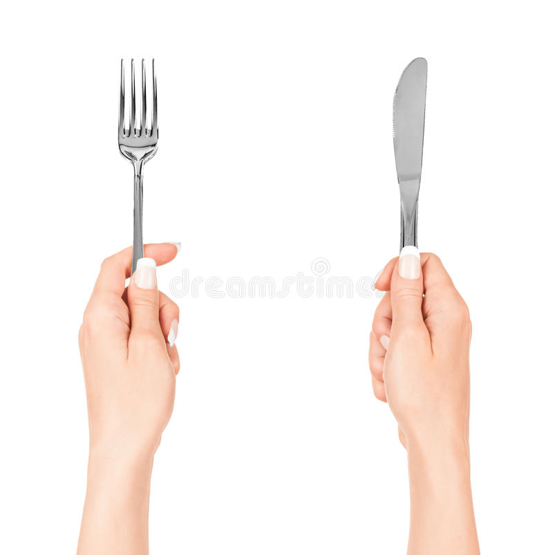 Free Woman Hands Holding A Fork And A Knife Royalty Free Stock Images - 43904579
