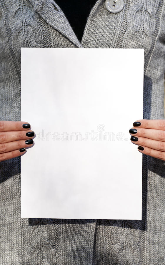 Download Woman Hands Holding Blank Paper Stock Image - Image: 22244071