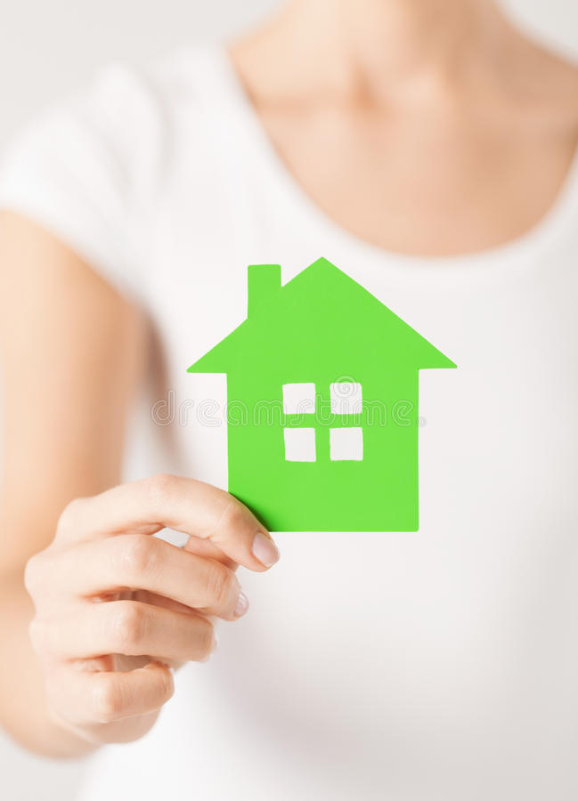 Download Woman Hands Holding Green House Stock Image - Image: 32103663