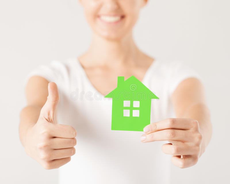 Download Woman Hands Holding Green House Stock Photo - Image: 32103352