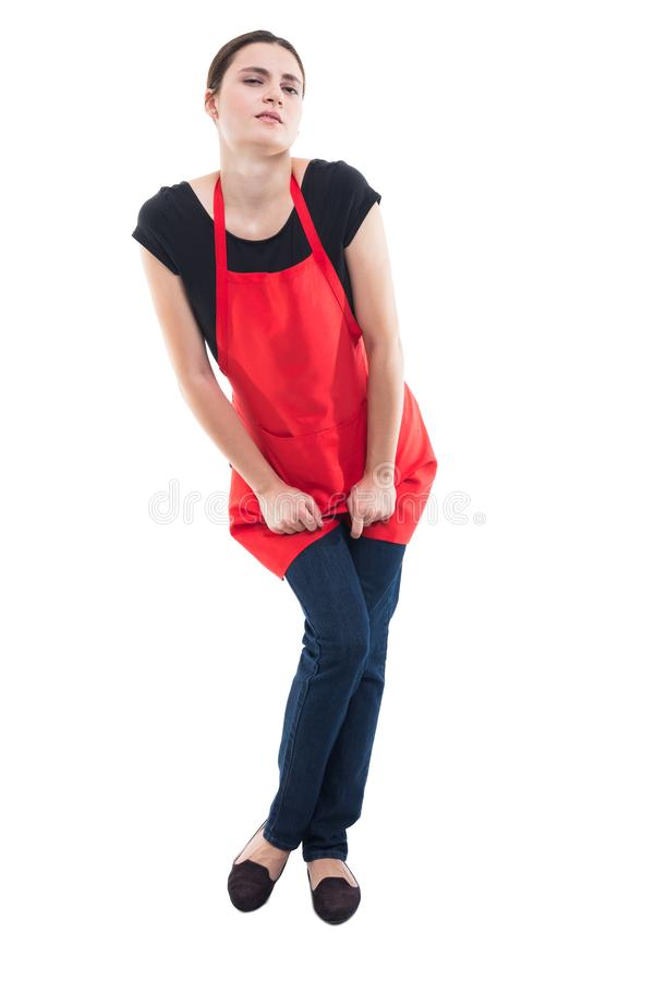 Woman with hands holding her crotch stock image