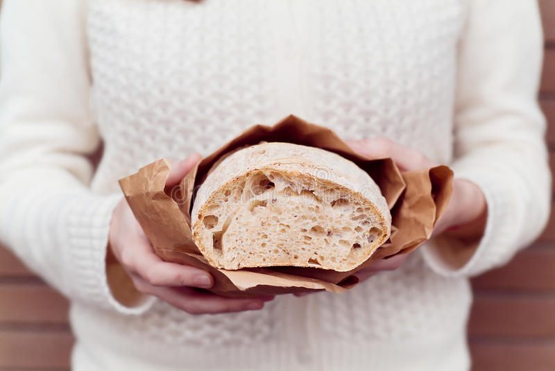 Download Hands with bread stock photo. Image of sourdough, white - 30034090