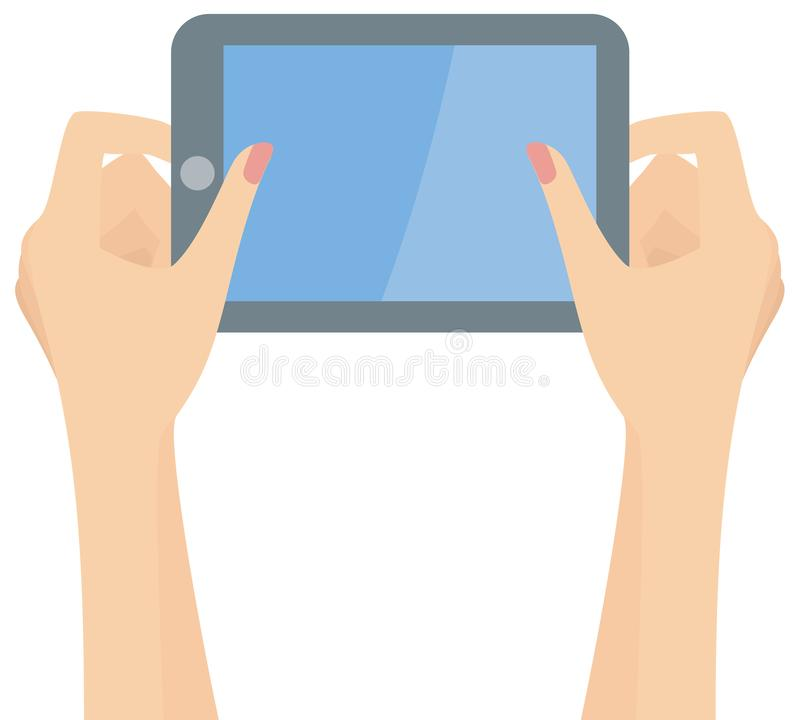 Woman hands holding a tablet royalty free illustration