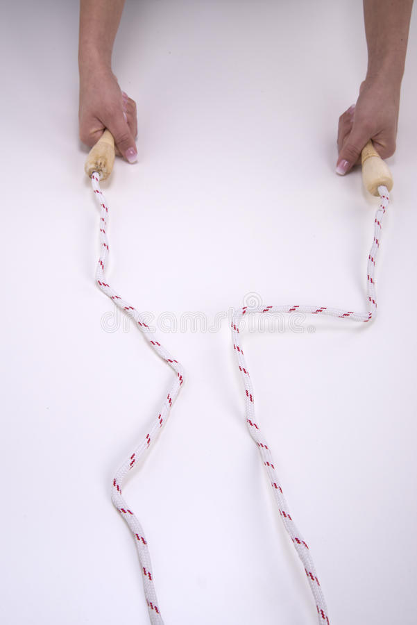 Woman hands with jump rope royalty free stock photo