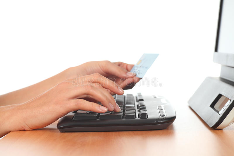 Download Woman Hands In A Keyboard With A Credit Card Stock Photo - Image: 28120856