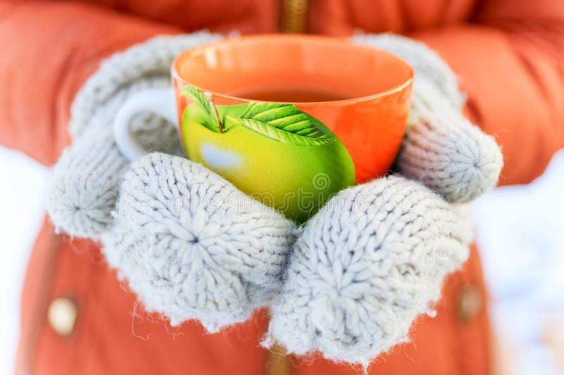Woman hands in knitted mittens holding mug of hot tea in the win stock photo