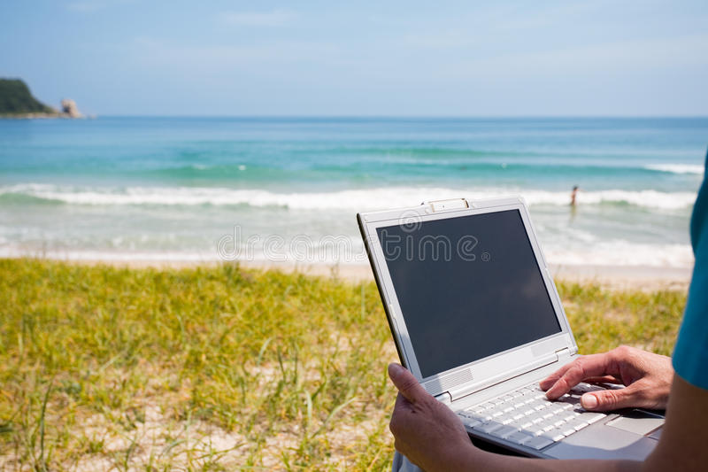 Woman hands and laptop stock images