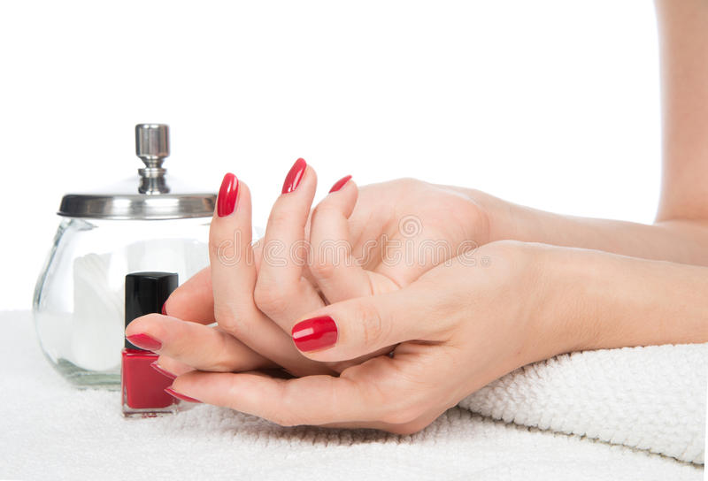 Woman hands manicure red nails stock image image 33755725 for A skin care salon