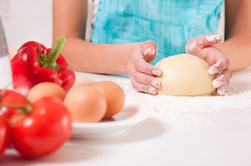 Download Woman Hands Mixing Dough On The Table Stock Image - Image: 23267999